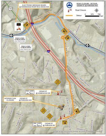 Cedar closure detour map
