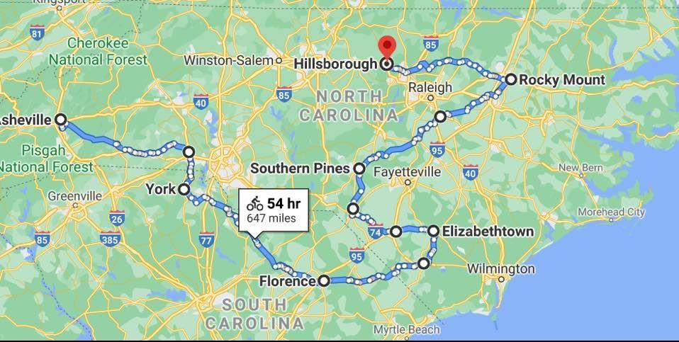 map of carolina brotherhood ride 2021